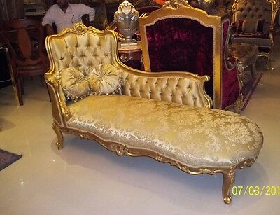 NEW French Reproduction Gold Damask Chaise lounge chair antique Louis xv couch