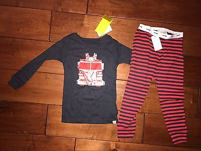 NWT Baby Gap Boys Firetruck 2 Piece Pajama Set Red And Navy Blue Sz 18-24 Months