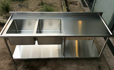 Brand New Stainless Steel Double Bowl Kitchen Sink Bench 2.1m
