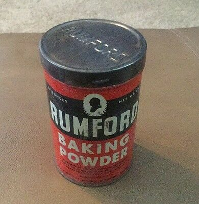 Antique Free Sample Rumford Baking Powder Tin Vintage Country Store Grocery Can