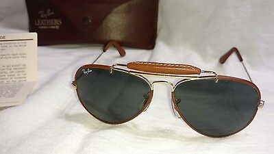 Vintage Ray Ban Leather Aviator Sunglasses Bausch Lomb W Case brown wrap