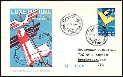 Luxembourg FDC 1954, sent to U.S.A. _CBH