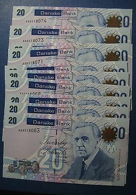 "£240  First Issue Consecutive AUNC/UNC £20 Danske Bank notes ""AA""  Oct 2012"