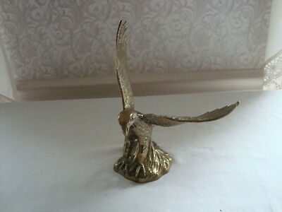 """Solid Brass American Eagle Statue Landing 7"""""""