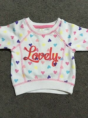 Baby Girls Heart Print Long Sleeved Top Size 000 GUC