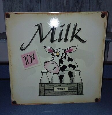 Tin Sign Advertising Milk Cow Cute Country Chic Rustic Farmhouse Kitchen Decor