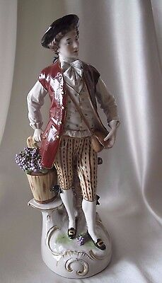 Antique Porcelain Figurine Of A European Dandy Hallmarked On The Base