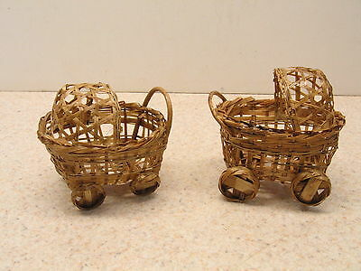 VTG Two Miniature Baby Carriage Stroller Buggies Wicker Hand Made 1940s Rare