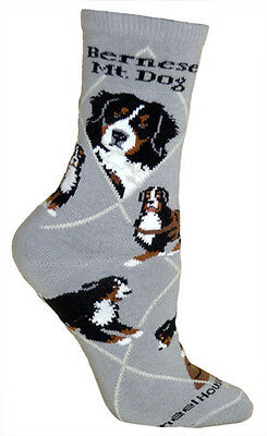 Bernese Mountain Dog Breed Gray Lightweight Stretch Cotton Adult Socks