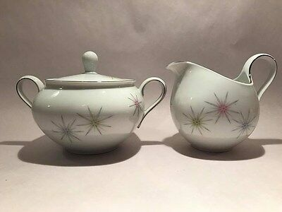 Cathedral Galaxy Bavarian China Sugar Bowl & Creamer Mid Century Atomic
