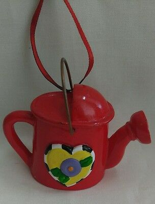 Mary Engelbreit Miniature Resin Watering Can Ornament Yellow Heart Red Ribbon