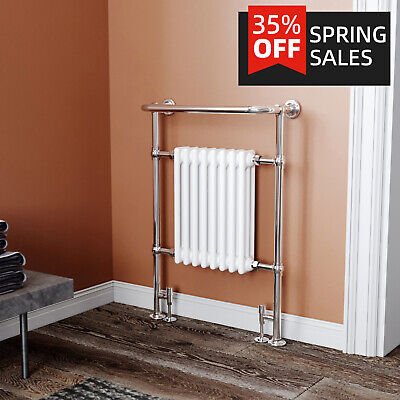 Bathroom Traditional White Chrome Heated Towel Rail Radiator Column 963x673mm