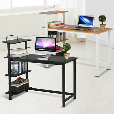 4-Tier Computer Desk Wood PC Laptop Study Writing Table Storage Shelves