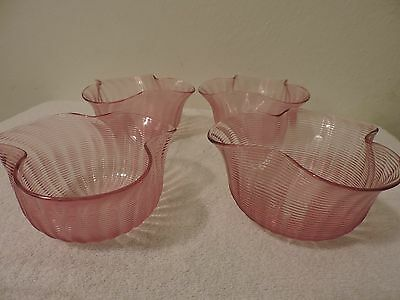 Vintage Stretched Wave Pink Glass  Bowls Set Of 4