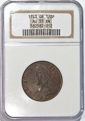 1743 Halfpenny Great Britain 1/2 P NGC AU 55 BN