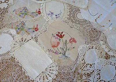 Bulk Lot Vintage Embroidered Doilies & Tablecloths