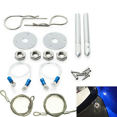 """Chrome Car Muscle 3/16"""" Hair Pin Style Hood Cover Pin Set W/ Lanyards 1/2"""" Studs"""
