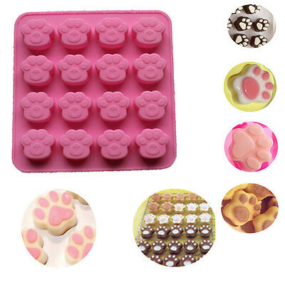 Cat Paw Print Silicone Cookie Cake Candy Chocolate Mold Soap Ice Cube Mould Pink