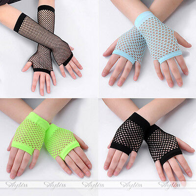 Women Goth Glove Lace Fingerless Fishnet Dance Costume Party Mesh Warmer Gloves