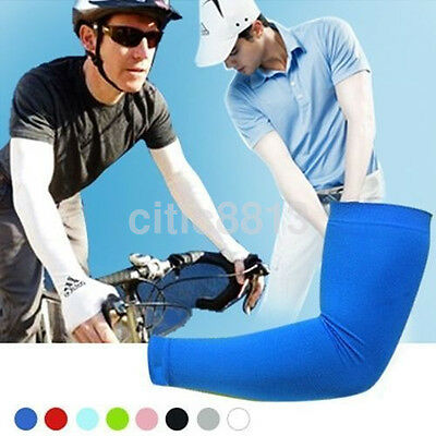 1Pair Cooling Arm Sleeves UV Cover Basketball Cycling Running Sun Protection A^