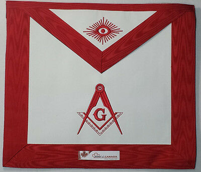 Red Lodge Masonic Master Mason Apron with G & Square Compass