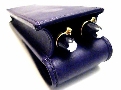 Purple Leather Double Magnetic Pen Case/Pouch. COLOUR DEFECTS TO CLEAR WAS £13