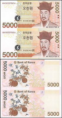 South Korea 5,000 (5000) Won, 2006, P-55, UNC, 2 Pieces Uncut Sheet Set w/Folder