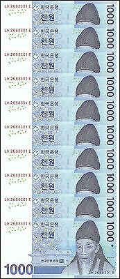 South Korea 1,000 (1000) Won X 10 Pieces (PCS), 2007, P-54, UNC