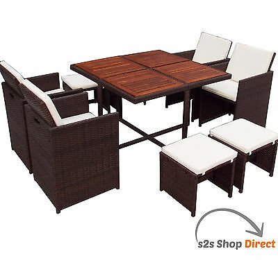 Rattan Cube Set 8 Seater Garden Patio Dining Furniture Outdoor Table Wood Top