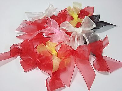 20 Mixed Red Yellow Organza Ribbon Trim Card Making Scrapbooking Home Decor Art