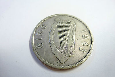 1943 Irish Half Crown 2s 6d Eire 75% Silver- very rare coin low mintage (ref 1)