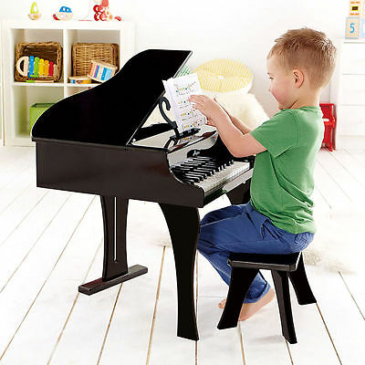 Hape Grand Piano Wooden with Seat 30 Keys Musical Toy Black