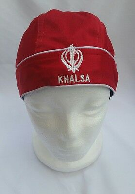 Sikh punjabi turban patka pathka Khanda bandana Head Wrap Red Colour Singh Gear