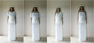4 in 1 Lace Maternity Dress Gown - Photography Photo Prop - Size 8-18 - White
