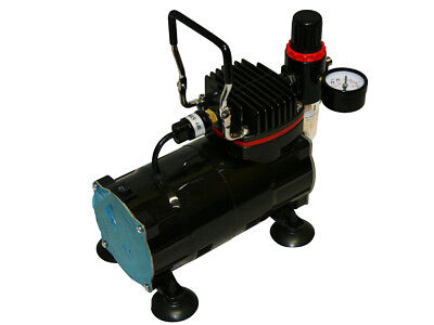 HIGH PERFORMANCE & QUIET MINI AIRBRUSH COMPRESSOR AS18-2 0-4bar 1/5 PS GLOSSY !