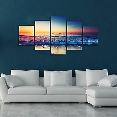 Framed canvas prints seascape print Sunset Sunrise beach wave modern wall art