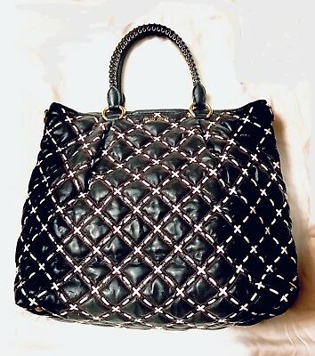 Miu Miu Leather Weave Huge Bag tote 100%authentic Mint Condition Black Red  White 42c3b4baaebf5