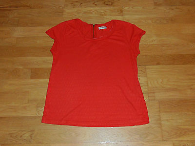 tee shirt femme taille S 36 rouge manches courtes pull&bear