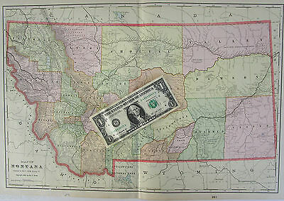 XL MT 1902 MONTANA Wall Map Art Print Decor. 20x13 Ft CUSTER 1900s GN Railroad