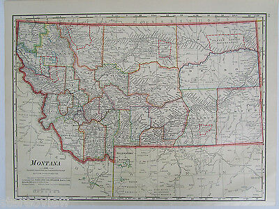 1911 MONTANA Map Art Print Decor. Indian Reservations, Butte, Bozeman. WYOMING