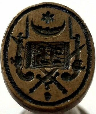 """Wax Seal Stamp Antique 19th Century  """"solid Brass """" - Unidentified Army !"""