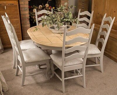 vintage extending dining table and Chairs Painted with Annie Sloan French Linen