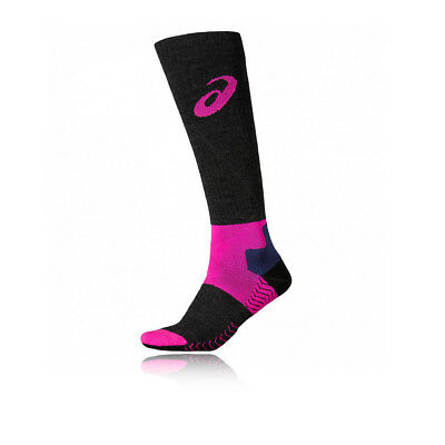 Asics Winter Womens Pink Black Knee Height Compression Support Running Socks