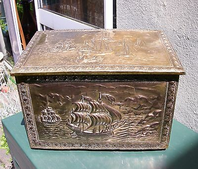 Vintage Embossed Brass over Wood Storage / Log Box