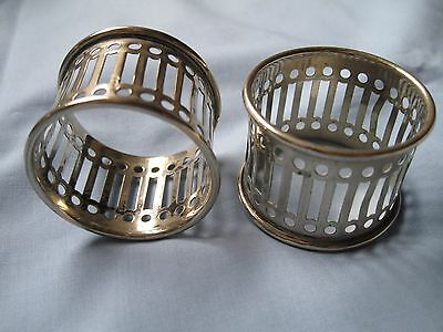 PAIR VINTAGE EPNS NAPKIN RINGS. Fair condition