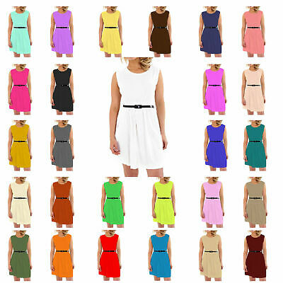 PAPAVAL KBD Kids Girls Skater Sleeveless  Belted Dress Party Fit Flare