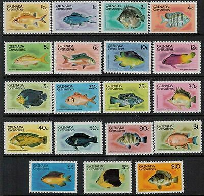 Grenada Grenadines 1980 marine life fish set of 19v MNH
