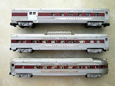 American Flyer SILVER FLASH PASSENGER SET OF COACHES (3) BROWN STRIPE !