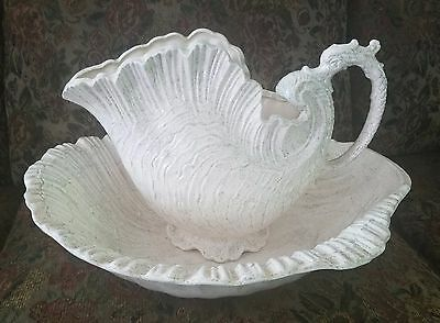 vintage shell wash pitcher and wash basin