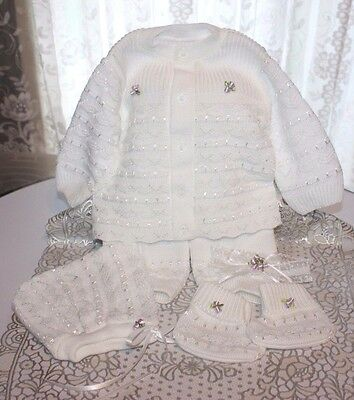 DARLING Fine Delicate Knit Baby Doll Outfit w/Lavender Flowers For Reborn WHITE